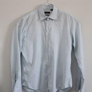 Hugo Boss Mens Regular Fit Shirt French Cuff Blue